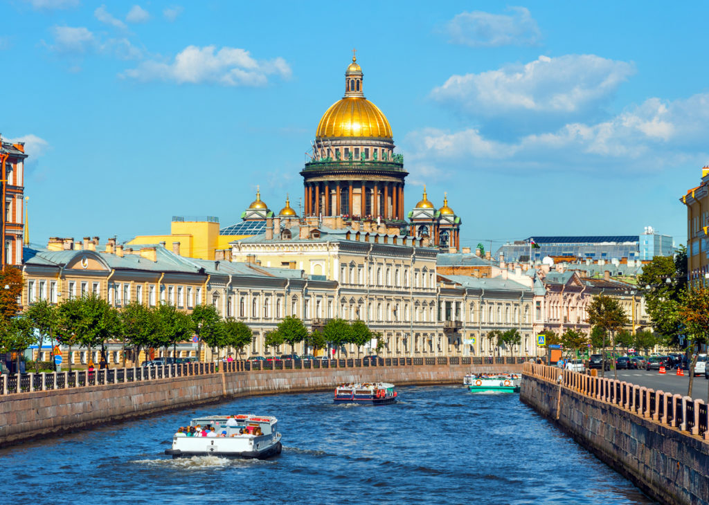 St Isaac's Cathedral across Moyka river, St Petersburg, Russia